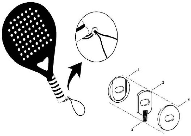 Guillotina ajustable al cordón del puño de la pala de padel.