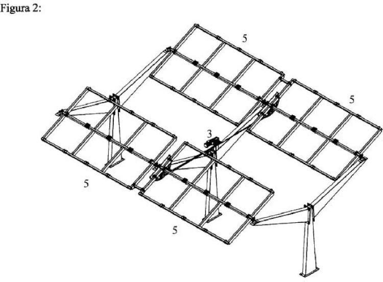 Marquesina-seguidor solar de un eje con pilares en Y.