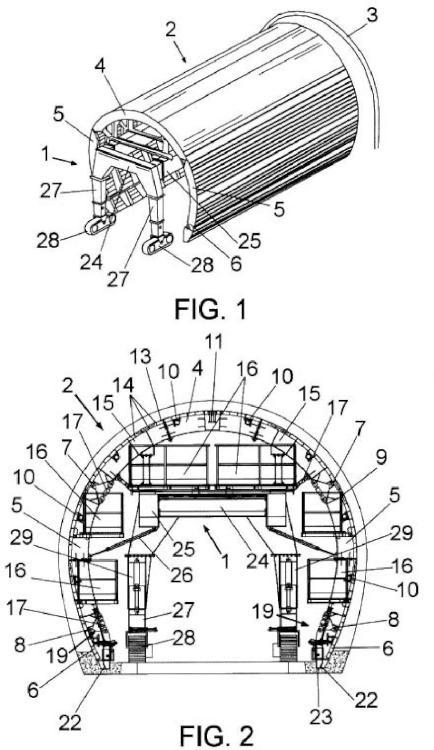 Carro de encofrado auto-portante para el revestimiento de tuneles.