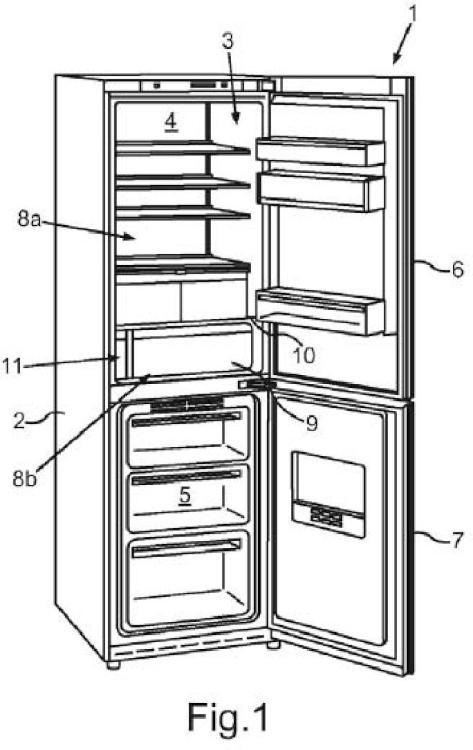 Aparato refrigerador doméstico con dos áreas de almacenamiento para alimentos y un dispositivo de ultrasonidos, y método para poner en funcionamiento un aparato refrigerador doméstico.