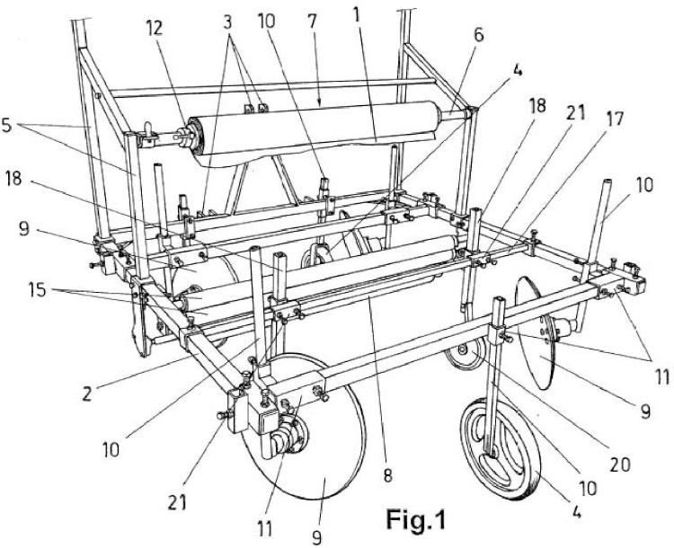 Máquina para extender láminas de cubrimiento sobre terrenos de cultivo.