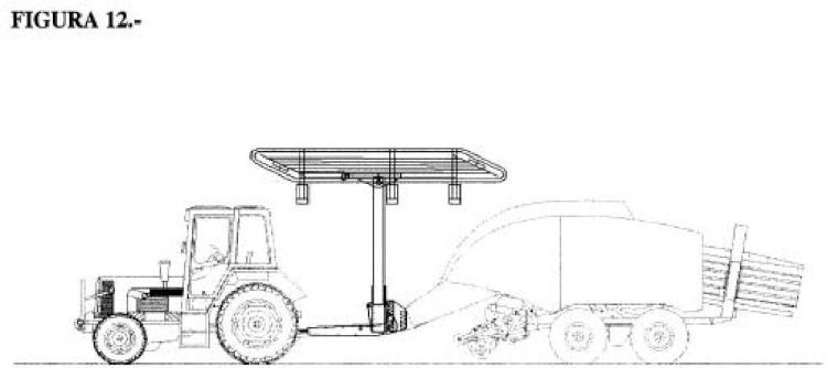Sistema de recogido y transporte de un rastrillo hilerador de forraje de varias cerreras en una sola, flotante, con cabezal abatible, acoplable a empacadora.