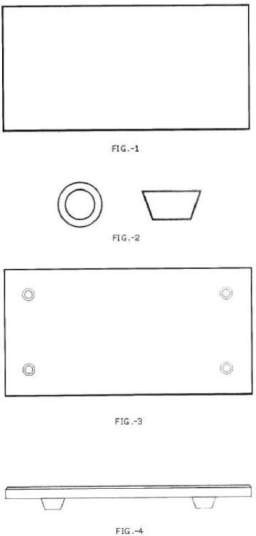 Sistema de soporte-pata antiarañazo y antideslizante para platos y bandejas de pizarra natural.