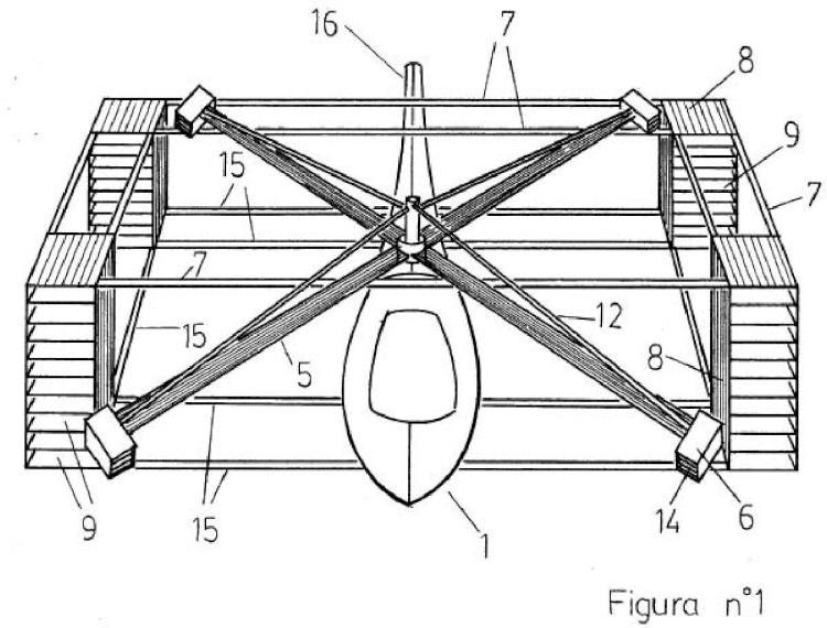 Helicóptero con estructura de aletas en radio de palanca y aletas en las hélices.