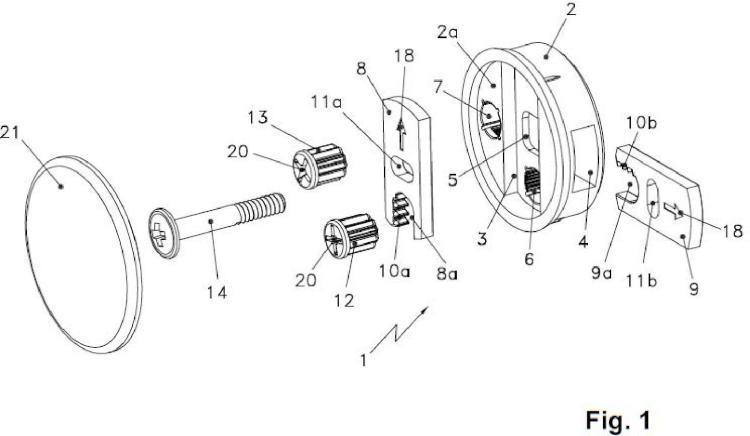 Dispositivo de ajuste para unión de partes de mueble.