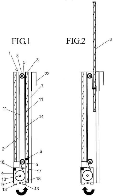 Pantalla corredera vertical para el control de viento, con pantalla inferior fija o abatible de máxima transparencia.