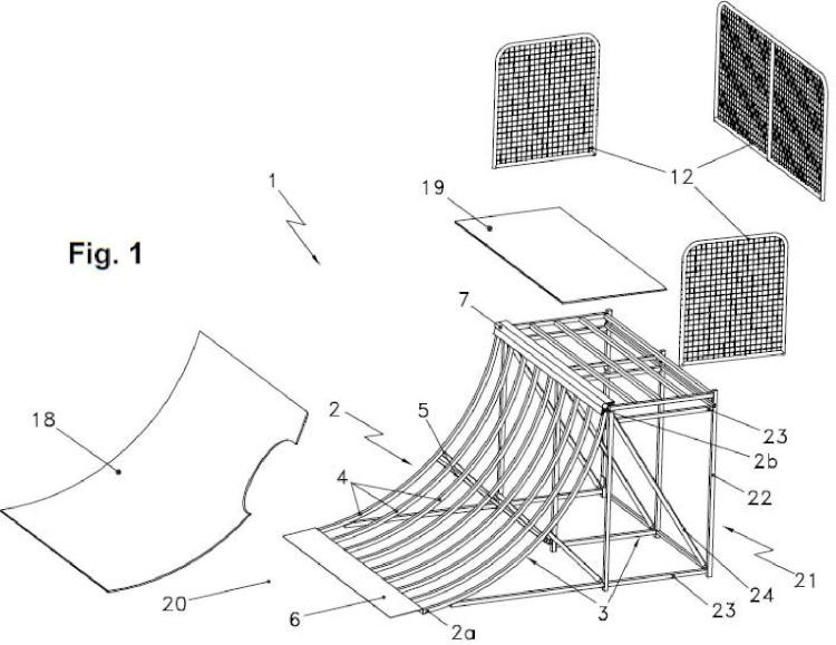 Disposición modular mejorada para la construcción de parques para la práctica de skate, bmx o similares.