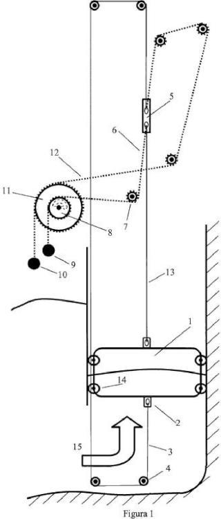 Convertidor undimotriz de columna de agua oscilante, con flotador, de baja inercia y acumulador mecánico de energía rotativo de doble giro montado en el tren transmisor.