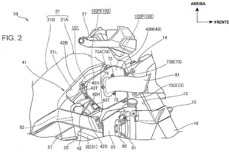 Estructura de admisión de aire de un vehículo del tipo de los de montar a horcajadas.
