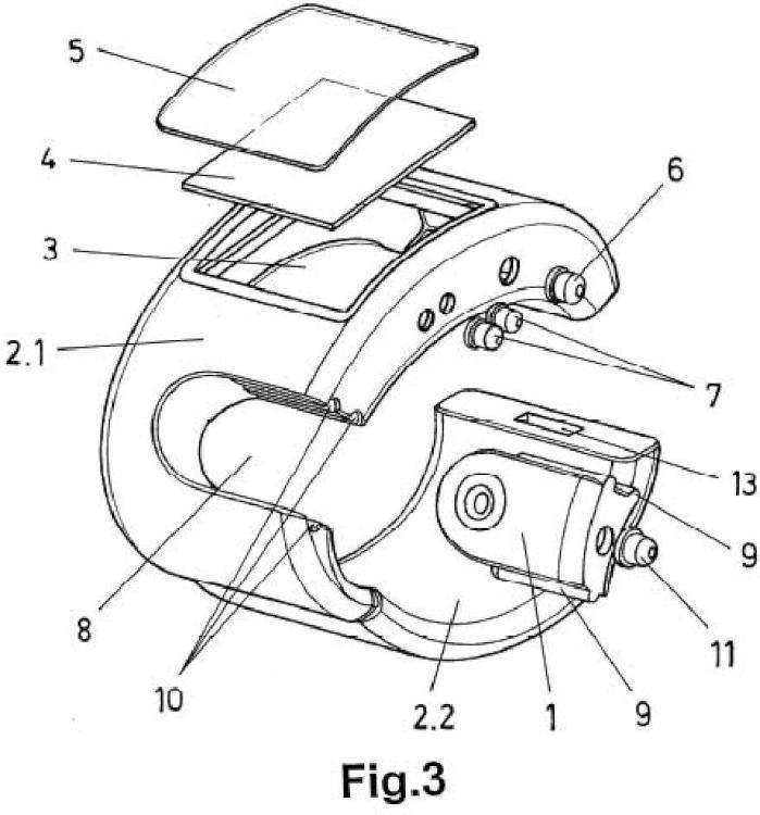 Dispositivo inteligente de pulsera con cámara óptica extraíble.