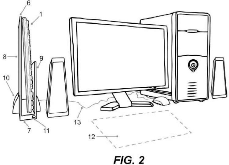 Estantería vertical para teclado de ordenador.