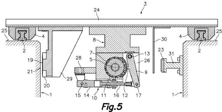 Dispositivo automático de cambio de formato para máquina horizontal automática formadora y llenadora de envases flexibles.