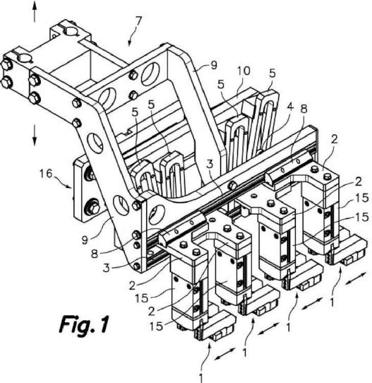 Dispositivo de cambio de línea para máquina horizontal automática formadora y llenadora de envases flexibles.