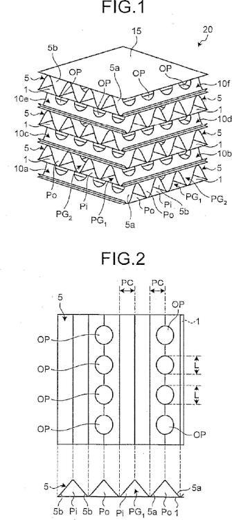 Elemento de intercambio de calor, método de fabricación del elemento de intercambio de calor, intercambiador de calor, y dispositivo de intercambio de calor y ventilación.