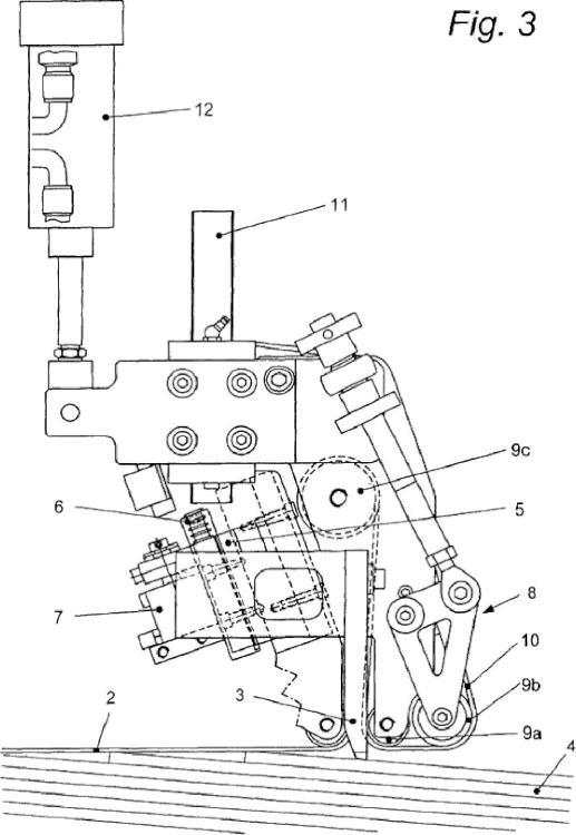 Dispositivo introductor rectificador de una plegadora-encoladora.