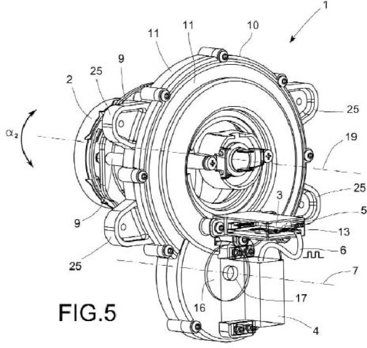 Método y dispositivo electromecánico de estabilización de la iluminación delantera de una motocicleta.