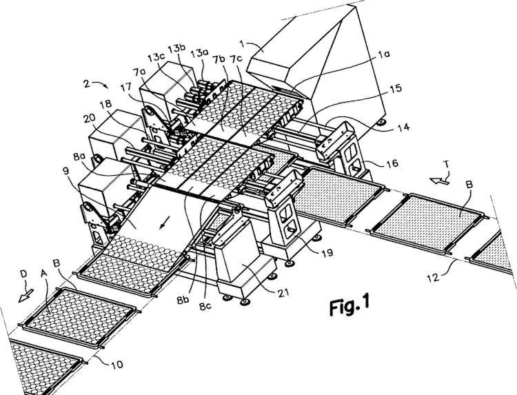 Aparato y método para cortar rodajas de un producto alimenticio y cargarlas en una superficie de transporte, y planta de tratamiento incluyendo dicho aparato.