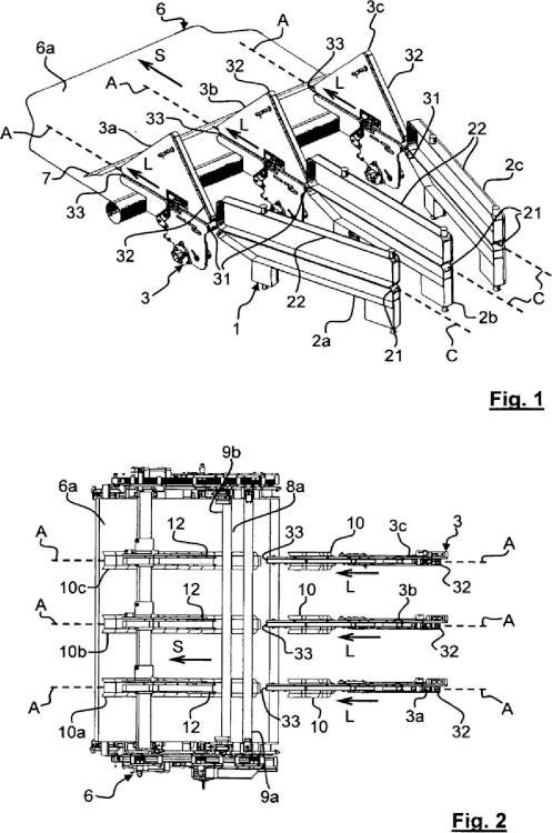 Unidad de formación de una capa de soportes planos para una máquina de producción de embalajes.