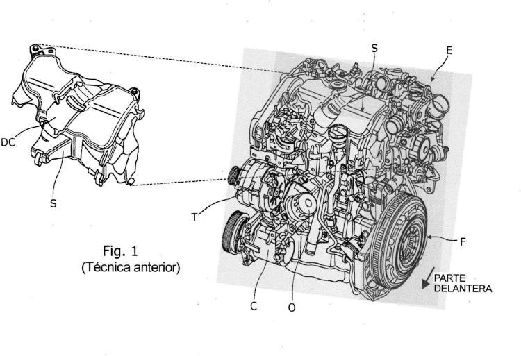 Motor de vehículo de motor con unidad de filtro de aire integrado.