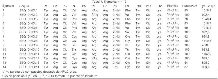 Peptidomiméticos en horquilla b fijados sobre una plantilla, con actividad antagonista con respecto a CXCR4.