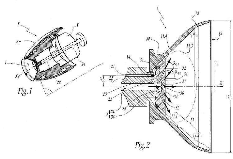 Proyector y órgano de pulverización de producto de revestimiento y procedimiento de proyección que emplea dicho proyector.