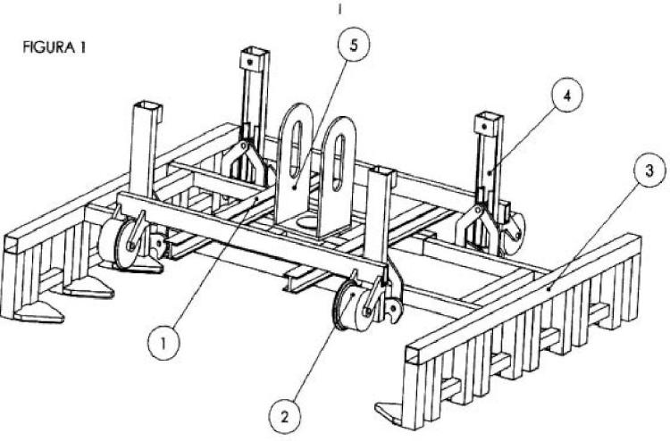 Implemento para retroexcavadora: posicionar y escuadrar traviesas de vías de ferrocarril.