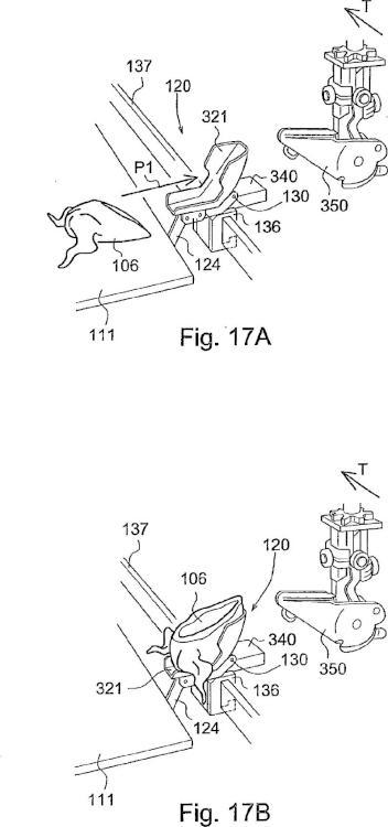 Dispositivo y método para poner en posición y disponer una parte de canal de ave de corral sacrificada sobre o en un transportador de producto.