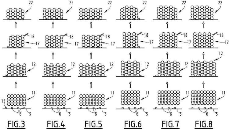 Instalación para agrupar recipientes de sección transversal circular u ovoide en forma de packs.