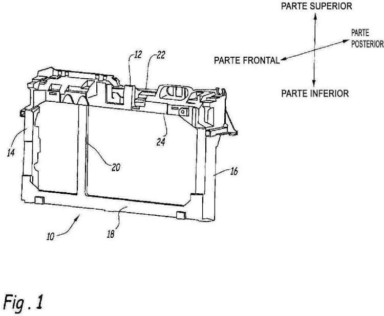 Componente estructural moldeado por inyección con una sección estructural hueca.