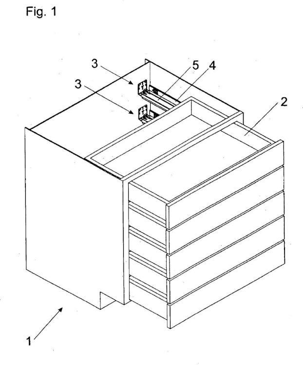 Dispositivo para el acoplamiento desprendible de un cajón en una guía de extracción del cajón.