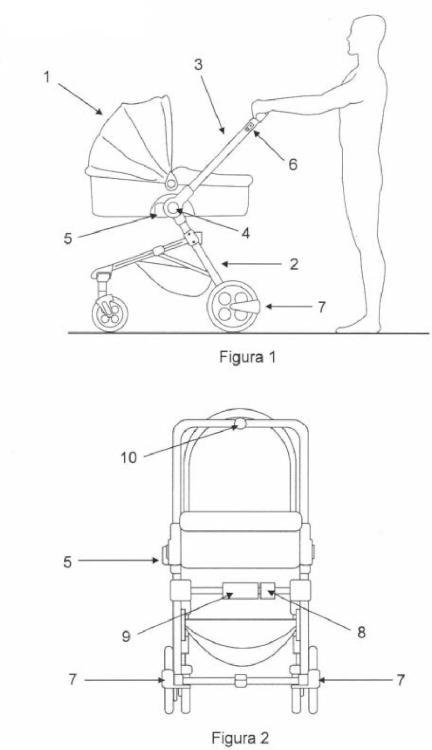 Ilustración 1 de la Galería de ilustraciones de Cochecito para bebés con sistema de frenado ante pendientes y nivelación automática del capazo