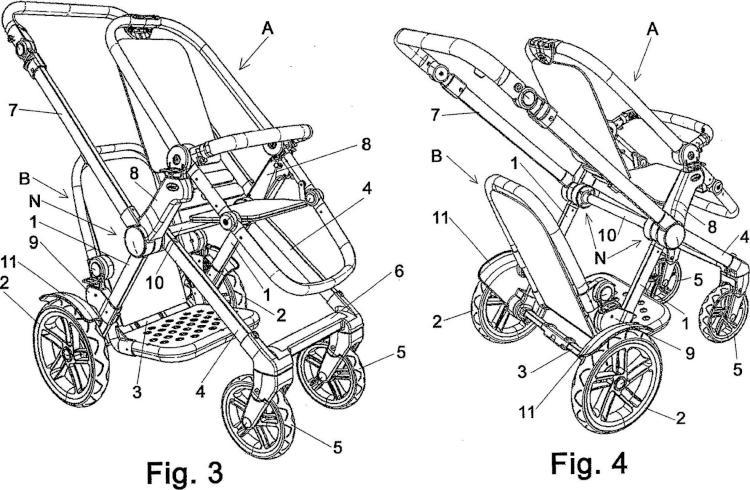 Chasis para cochecito infantil con dos plazas.