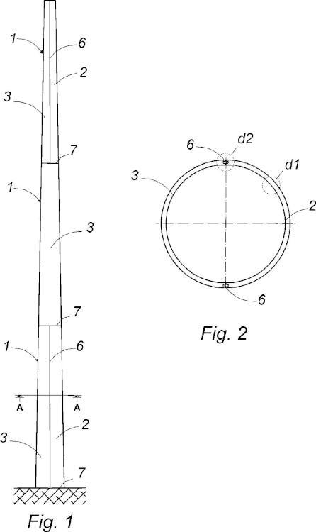 Estructura de soporte para una turbina eólica.