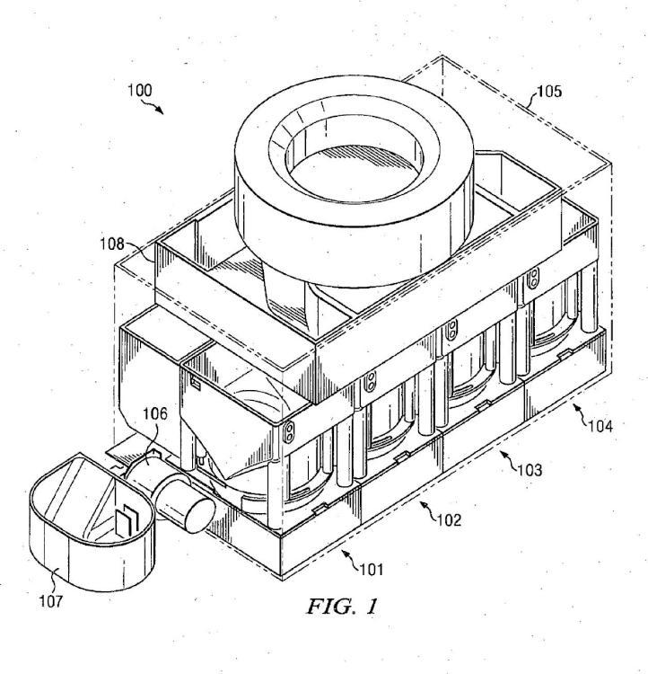 Dispensador modular de monedas a granel con extracción de tolva del mecanismo de accionamiento y control.