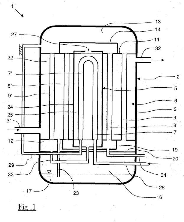 Dispositivo para enfriar corrientes de material.