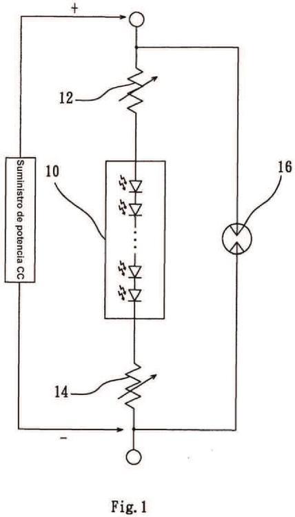 Circuito de protección de un diodo emisor de luz (LED).
