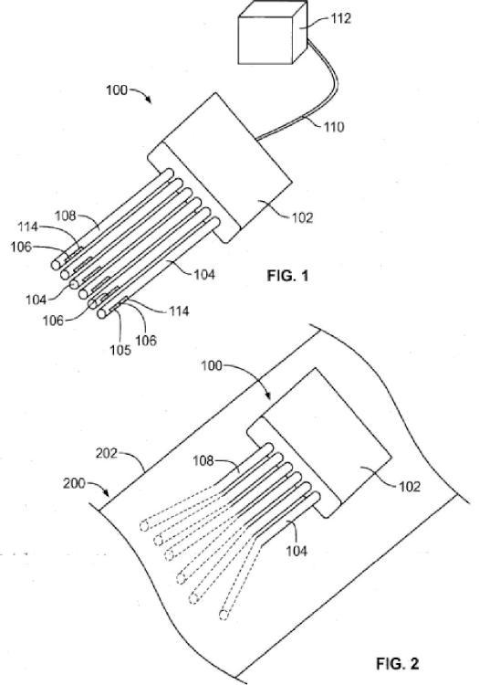 Electrodo de interfaz nerviosa con fibras para la inserción entre fascículos nerviosos.