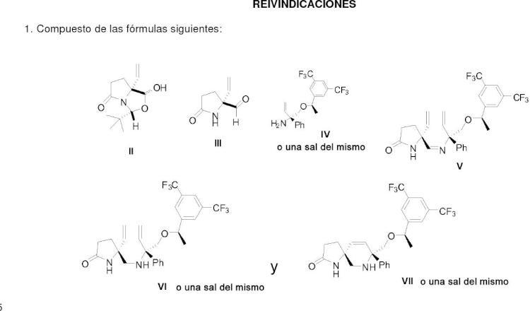 Productos intermedios para la síntesis de compuestos de 8-[{1-(3,5-bis-(trifluorometil)fenil)-etoxi}-metil]-8-fenil-1,7-diaza-espiro[4,5]decán-2-ona.