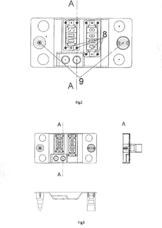 Placa para multiconexiones eléctricas, hidraúlicas y de datos.