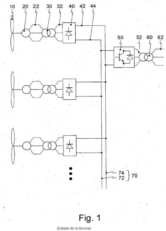 Disposición de circuito rectificador de corriente para generadores con potencia variable dinámicamente.