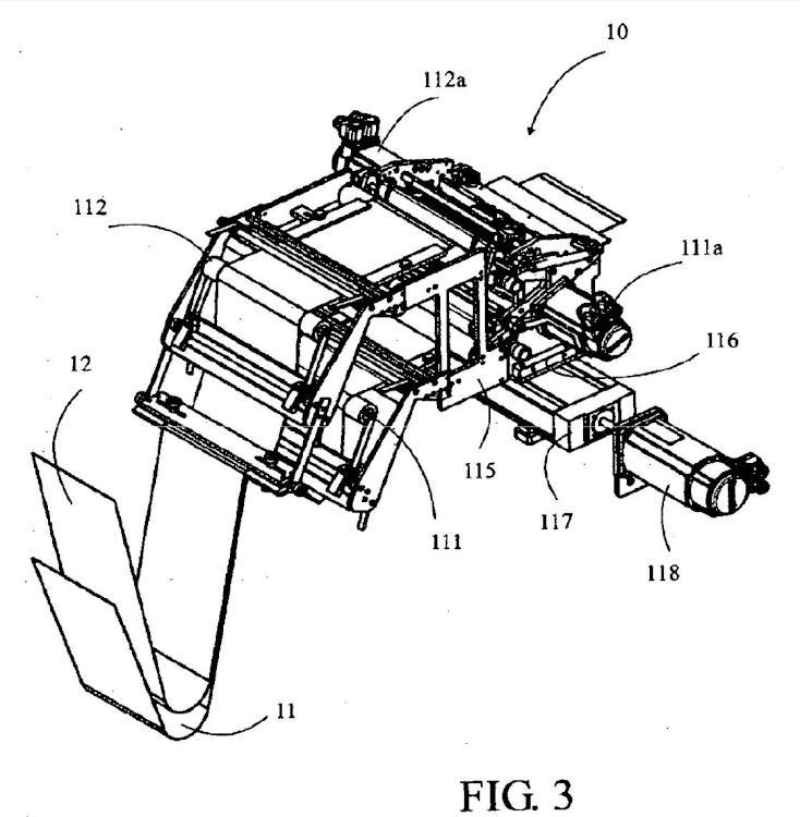 Dispositivo de alimentación de una máquina de corte transversal de por lo menos una banda de material flexible.