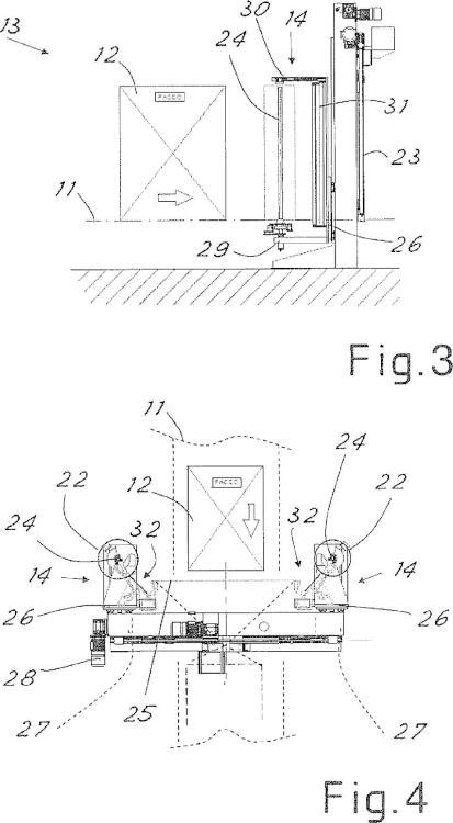 Equipo, método y estación para envolver lateralmente productos mediante película de plástico.