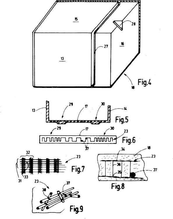 Elemento de construcción de hormigón armado con fibras textiles prefabricado.