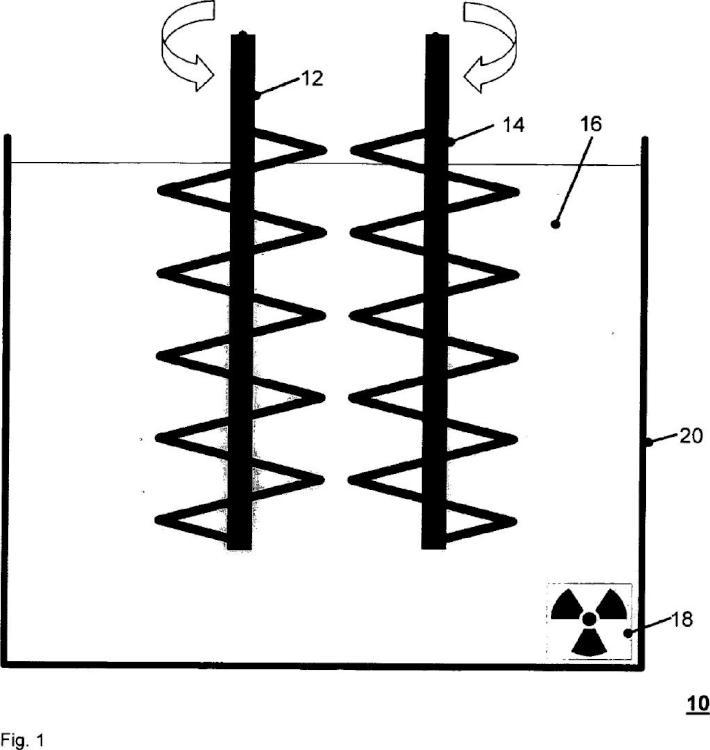 Dispositivo de agitación para mezclar materiales abrasivos con carga radioactiva.