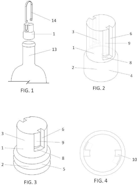 Tapón de geometría cilíndrica con ranuras laterales y accesorio extractor independiente.