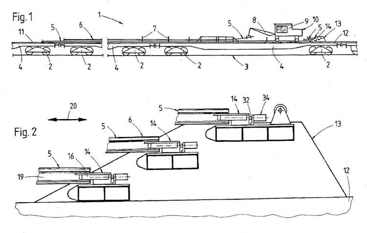 Tren de carga de carriles para el transporte de carriles.