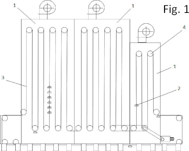 Horno mecánico continuo y procedimiento para secado del sellante de tapas.