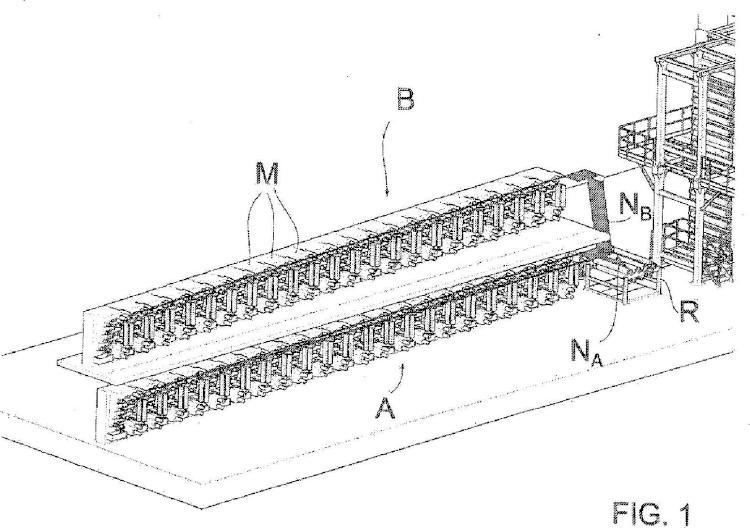 Procedimiento de fabricación de fibras de carbono y planta para la operación de dicho procedimiento.