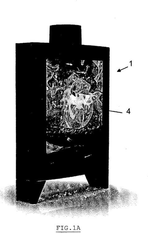 Aparato de calefacción de rendimiento muy elevado, de muy poca profundidad y de amplia visión.