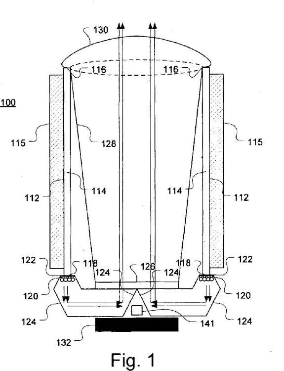Módulo de iluminación con direcciones de propagación de calor y luz similares.